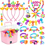 BATTOP Girls Pop Snap Beads Set for 4 5 6 7 8 Years Old DIY Jewelry Toy, Necklaces, Hairbands