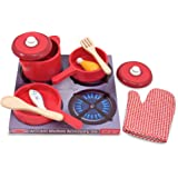 Melissa & Doug 2610 Deluxe Wooden Kitchen Accessory Set - Pots & Pans (8 pcs) Green H: 12 x W: 12 x D: 5