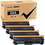V4INK 4-Pack Compatible 48A Toner Cartridge Replacement for HP 48A CF248A Toner Cartridge Black Ink for use in HP Laserjet Pr