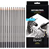 Dyvicl Drawing Pencils Set - 12 Pieces Sketching Pencils 10B 8B 6B 5B 4B 3B 2B B HB 2H 4H 6H Graphite Pencils for Beginners A