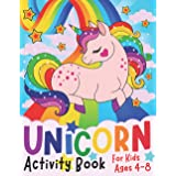 Unicorn Activity Book for Kids ages 4-8: A children's coloring book and activity pages for 4-8 year old kids. For home or tra