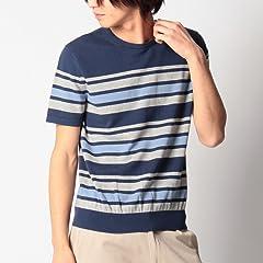 Short Sleeve Cotton Sweater F44-16901: Navy Stripe