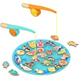 TOP Bright Catch & Count Wooden Fishing Game Toys with 26 Wood fishs 2 Magnetic Rods for Toddlers Boys and Grils