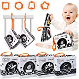 TUMAMA White and Black Books for Newborns,4 Pack High Contrast Crinkle Cloth Books for Babies,My First Soft Books Early Educa