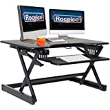 Rocelco EADRB2 Standing Desk Converter - Side Paddle Easy Height Adjustable Sit Stand Desk Riser - Dual Monitor Capable - 32""
