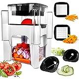 Vegetable Chopper, Fun Life 4 in-1 Food Chopper Cutter Slicer Dicer, Manual Veggie Slicer for Cutter, Dicer, Spiralizer for O