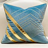 Avigers 20 x 20 Inches Light Blue Gold Leather Striped Embroidered Cushion Cases Luxury European Throw Pillow Covers Decorati