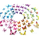 Eoorau 60PCS 3D Butterfly Removable Mural Stickers Wall Stickers Decals Wall Decor Home Decor Kids Room Bedroom Decor Living