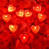 9 Packs Heart Shape Candles Romantic Love Candle Tealight Candles with 200 Pieces Silk Rose Petals Girl Scatter Petals for We