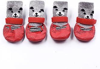 Innopet 犬用ソックス 靴下 犬用 防寒 滑り止め マジックテープ付き 暖かい クリスマス 可愛い 熊 4個セット