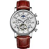 ShanniRuo 腕時計メンズトゥールビヨン自動巻機械式腕時計ビジネスシリーズ防水レザーストラップウォッチ(シルバー…