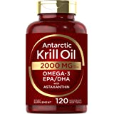 Antarctic Krill Oil 2000 mg 120 Softgels | Omega-3 EPA, DHA, with Astaxanthin Supplement Sourced from Red Krill | Maximum Str
