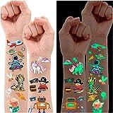 Partywind Luminous Temporary Tattoos for Kids, Waterproof Fake Tattoos Stickers with Unicorn Dinosaur Mermaid Pirate Construc