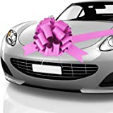 Car Bow Pull Bow Car Gift Wrapping Bow with 20 ft Car Ribbon for Car Decor Wedding New Houses Party Celebration (Pink, 20 Inc