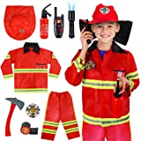 Kids Fireman Costume Role Play Set - Firefighter Dress-up and Fireman Toys Accessories for Toddlers, Birthday for 3 4 5 6 7 Y
