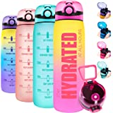 Elvira 32oz Motivational Water Bottle with Time Marker, Removable Fruit Infuser & Protein Agitator, Leakproof BPA Free Wide M