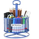 Marbrasse Mesh Desk Organizer,360-Degree Rotating Multi-Functional Pen Holder,4 Compartments Desktop Stationary Organizer, Ho