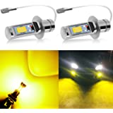 AUXLIGHT H3 LED Fog Light DRL Bulbs, 3000 Lumens Extremely BrightBulbs Replacement for Cars, Trucks, Golden Yellow