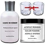 Acrylic Powder and Liquid Set, 5oz Liquid Monomer + 4oz Clear Acrylic Powder, With 2pcs Dappen Dish
