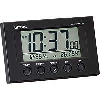 リズム(RHYTHM) 目覚まし時計 電波時計 温度計・湿度計付き フィットウェーブスマート 黒 7.7×12×5.4c…