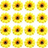 16 Pack Artificial Fake Yellow Large Daisy Sunflower Hair Pins Alligator Clips Barrettes Clamps Wedding Bridal Hair Styling H