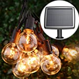 PERFECTDAY Solar String Lights, Shatterproof LED Solar String Light Outdoor G40 Umbrella Lights with 25 Bulbs - 27 Ft Patio W