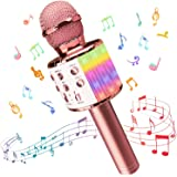 Wireless Bluetooth Karaoke Microphone with controllable LED Lights, Xkey 4 in 1 Portable Karaoke Machine Speaker for Android/