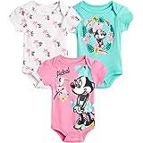 Disney Baby Girls 3 Piece Short Sleeve Bodysuits – Minnie, Ariel, Nemo, Pooh (Newborn/Infant), Size 0-3 Months, Aloha Minnie