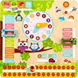 Pidoko Kids Learning Clock - All About Today Board - Montessori Toys for Toddlers -Educational and Fun Wooden Teaching Mater
