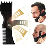 Beard Shaping Tool, Beard Shaper, TERSELY Adjustable Beard Trimming Guide with Comb and Styling Template,Beard Lineup Tool &