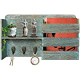 Honest Torched Wood Rustic Wall Mounted Key & Mail Holder,Organizer with 3 Key Hooks Shelf for Entryway or Mud Room Holds Doc
