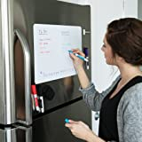 Magnetic Dry Erase Whiteboard Sheet for Kitchen Fridge: with Stain Resistant Technology - 20x13 - Includes 4 Markers and Big