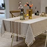 TEWENE Tablecloth, Rectangle Table Cloth Cotton Linen Wrinkle Free Anti-Fading Embroidery Tablecloths Washable Dust-Proof for