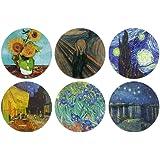 CARIBOU Coasters - Sunflowers Van Gogh, The Scream, Starry Night, Cafe Terrace, Irises, The Starry Night Over The Rhone Desig
