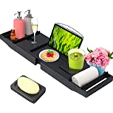 BAMBUROBA Bamboo Bathtub Caddy Tray Expandable for Luxury Bath,Bath Accessories & Table with Wine Glass Holder,Book Stand Bat