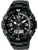 [シチズン Q&Q] 腕時計 アナログ 電波 ソーラー 防水 日付 ウレタンベルト MD06-305 メンズ ブラック