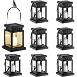 GIGALUMI 8 Pack Solar Hanging Lantern Outdoor, Candle Effect Light with Stake for Garden,Patio, Lawn, Deck, Umbrella, Tent, T