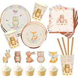 Woodland Creatures Party Supplies -Bundle for 18-104 Pieces - Baby Shower or Birthday Party Tableware Plates, Cups, Napkins -