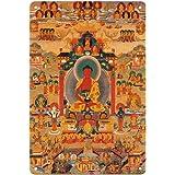 Pacifica Island Art Amitabha in Sukhavati - Buddha of Boundless Light - Vintage Tibetan Thangka Buddhist Painting - Tibet, 19