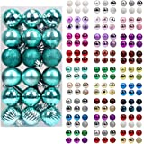 walsport Christmas Balls Ornaments for Xmas Tree - 36ct Plastic Shatterproof Baubles Colored and Glitter Christmas Party Deco