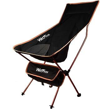 アウトドアチェア 【最新改良版】 Wolfyok ロングバックタイプ 耐荷重120kg 折り畳み椅子 軽量 持ち運び可能 お釣り 登山 キャンプ用 収納バッグ付き