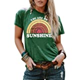 Anbech Womens Graphic T Shirts You are My Sunshine Printed Tee Casual Short Sleeve Summer Tops