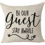 """FELENIW Be Our Guest Stay Awhile Family Friends Gift Throw Pillow Cover Cushion Case Cotton Linen Material Decorative 18"""" x 1"""