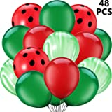 48 Pieces Red Watermelon Inspired Latex Balloons, One in A Melon Themed Decorations Watermelon Balloons for 1st Birthday Part