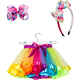 SunTrade Girls Rainbow Layered Tulle Tutu Skirt with Headband and Hair Bow for Birthday Party Dress Up