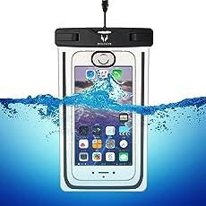 Wolfeye 指紋認証可 防水携帯ケース 高感度PVC IPX8 夜間発光 アウトドア 温泉 釣り お風呂 水泳 砂浜等最適な防水袋 スマホケース・カバー 防水国際保護等級:IPX8認定獲得 iPhone 6 Plus/ Samsung Galaxy/Nexus/Sonyなど全機種対応 スマートフォン用防水 防塵ケース (ブラック)
