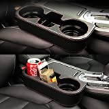 TTOUADY Car Seat Organizer, Leather Cover Car Cup Holder, Universal Multifunctional Car Front Seat Organizer (Black)