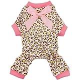Fitwarm Leopard Ribbon Soft Velvet Dog Pajamas for Pet Dog Clothes Comfy Pjs, X-Small