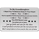 FUSTMW to My Grandson Granddaughter Gift Keychain Pendant from Grandpa/Grandma Grandchild Jewelry Birthday Graduation Gift