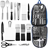 Portable Camping Kitchen Utensil Set, 27-Piece Stainless Steel Outdoor Cooking and Grilling Utensil Organizer Travel Set Perf